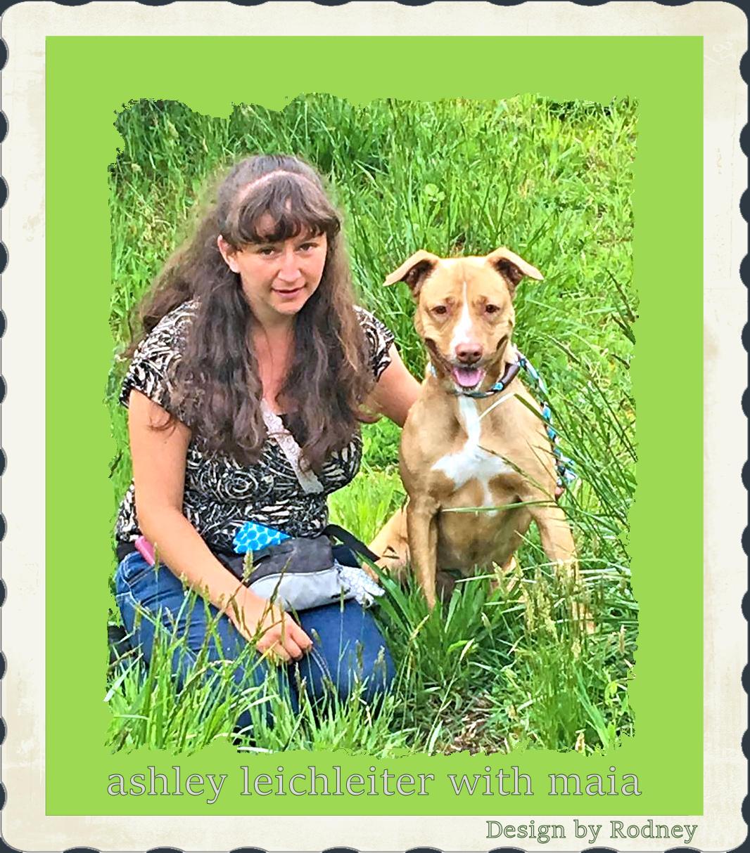 Photo of Ashley with shelter dog Maia
